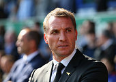 Brendan Rodgers manager of Liverpool looks on during the Barclays Premier League match between Everton and Liverpool at Goodison Park on October 4...