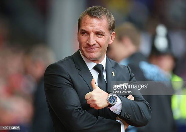 Brendan Rodgers manager of Liverpool looks on prior to the Barclays Premier League match between Liverpool and Aston Villa at Anfield on September 26...
