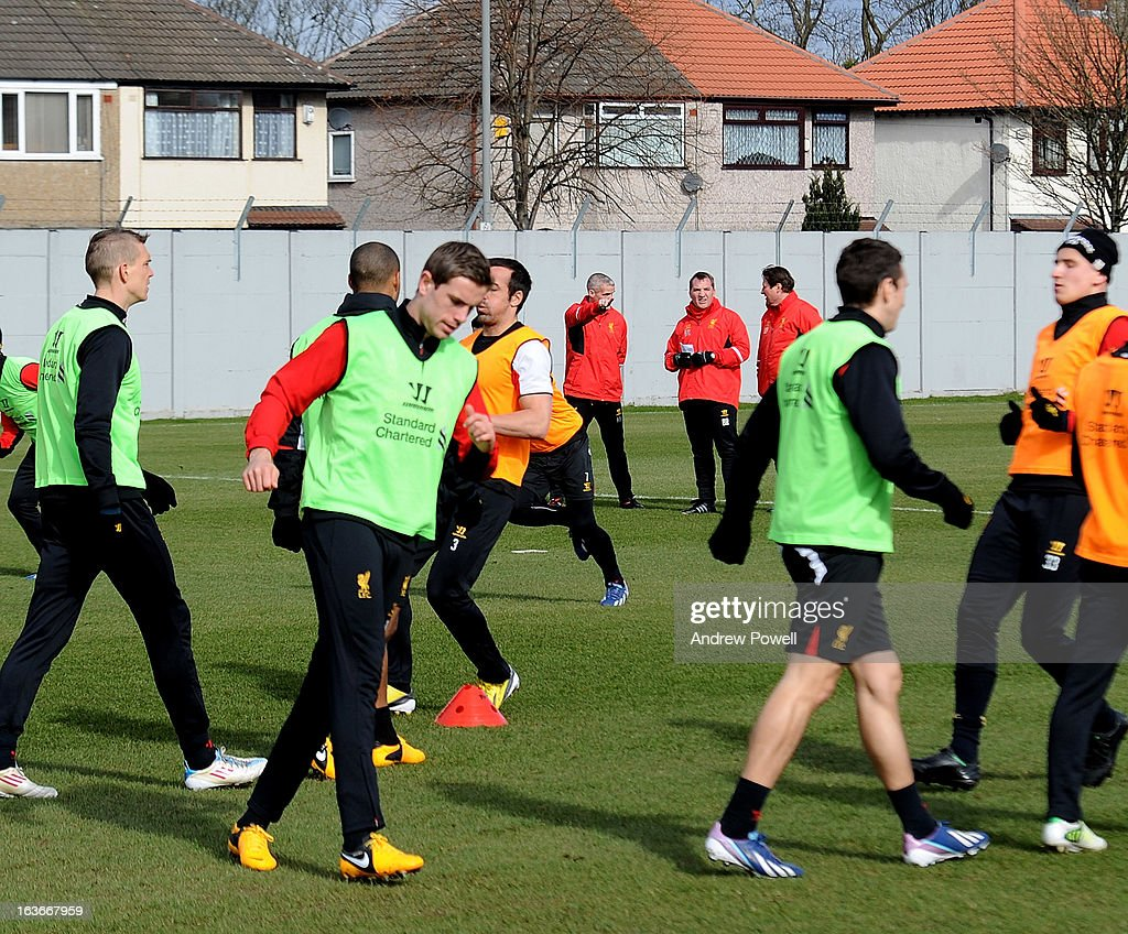 Brendan Rodgers manager of Liverpool, Mike Marsh first team coach, and Colin Pascoe assistant Manager during a training session at Melwood Training Ground on March 14, 2013 in Liverpool, England.