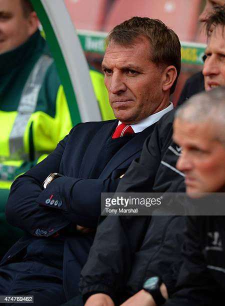 Brendan Rodgers Manager of Liverpool on the bench during the Barclays Premier League match between Stoke City and Liverpool at Britannia Stadium on...