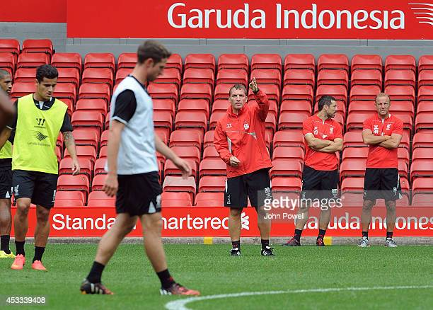Brendan Rodgers manager of Liverpool reacts during a training session at Anfield on August 8 2014 in Liverpool England