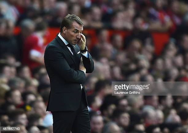 Brendan Rodgers manager of Liverpool reacts during the Barclays Premier League match between Manchester United and Liverpool at Old Trafford on...