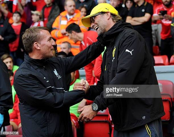 Brendan Rodgers manager of Liverpool shakes hands with Borussia Dortmund manager Jurgen Klopp before the Pre Season Friendly match between Liverpool...