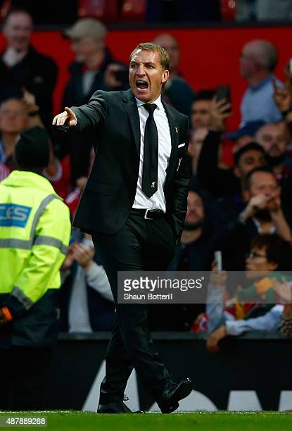 Brendan Rodgers manager of Liverpool shouts instructions during the Barclays Premier League match between Manchester United and Liverpool at Old...
