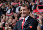 Brendan Rodgers manager of Liverpool smiles before the Barclays Premier League match between Liverpool and Chelsea at Anfield on April 27 2014 in...