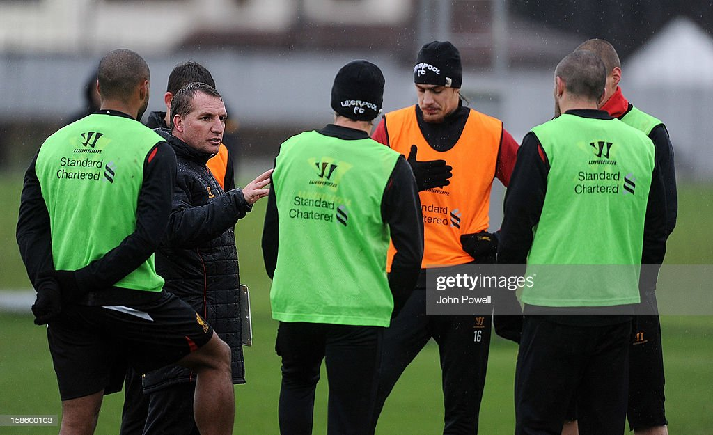 <a gi-track='captionPersonalityLinkClicked' href=/galleries/search?phrase=Brendan+Rodgers+-+Soccer+Manager&family=editorial&specificpeople=5446684 ng-click='$event.stopPropagation()'>Brendan Rodgers</a> manager of Liverpool speaks to his team during a training session at Melwood Training Ground on December 20, 2012 in Liverpool, England.