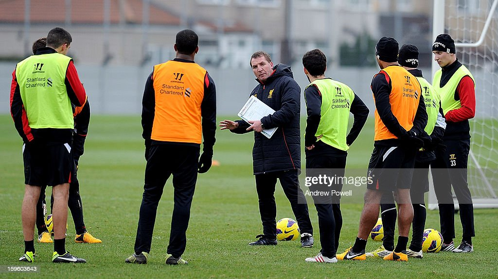 Brendan Rodgers, manager of Liverpool talks to his players during a training session at Melwood Training Ground on January 17, 2013 in Liverpool, England.