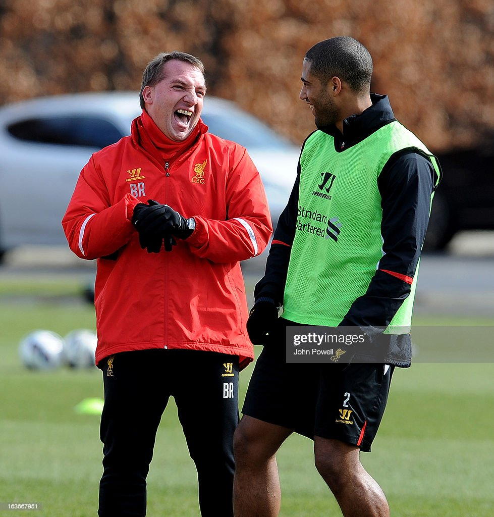 <a gi-track='captionPersonalityLinkClicked' href=/galleries/search?phrase=Brendan+Rodgers+-+Soccer+Manager&family=editorial&specificpeople=5446684 ng-click='$event.stopPropagation()'>Brendan Rodgers</a> manager of Liverpool talks with <a gi-track='captionPersonalityLinkClicked' href=/galleries/search?phrase=Glen+Johnson&family=editorial&specificpeople=209192 ng-click='$event.stopPropagation()'>Glen Johnson</a> during a training session at Melwood Training Ground on March 14, 2013 in Liverpool, England.