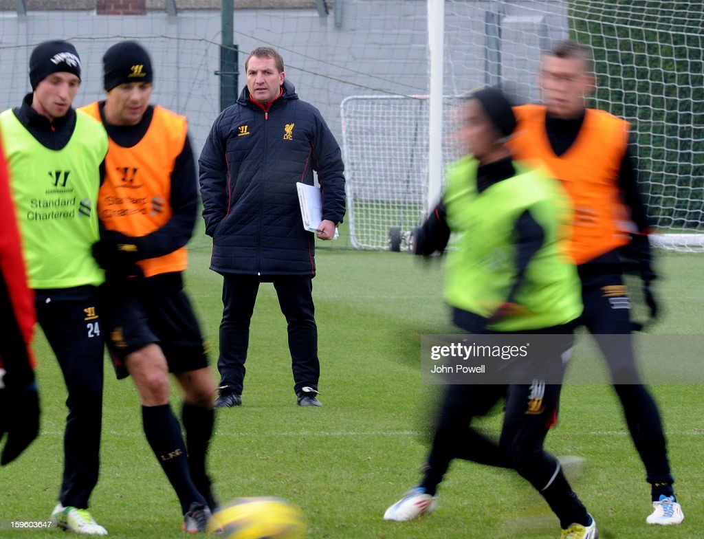 Brendan Rodgers, manager of Liverpool watches his players during a training session at Melwood Training Ground on January 17, 2013 in Liverpool, England.