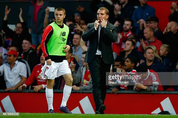 Brendan Rodgers manager of Liverpool whistles with Jordan Rossiter during the Barclays Premier League match between Manchester United and Liverpool...