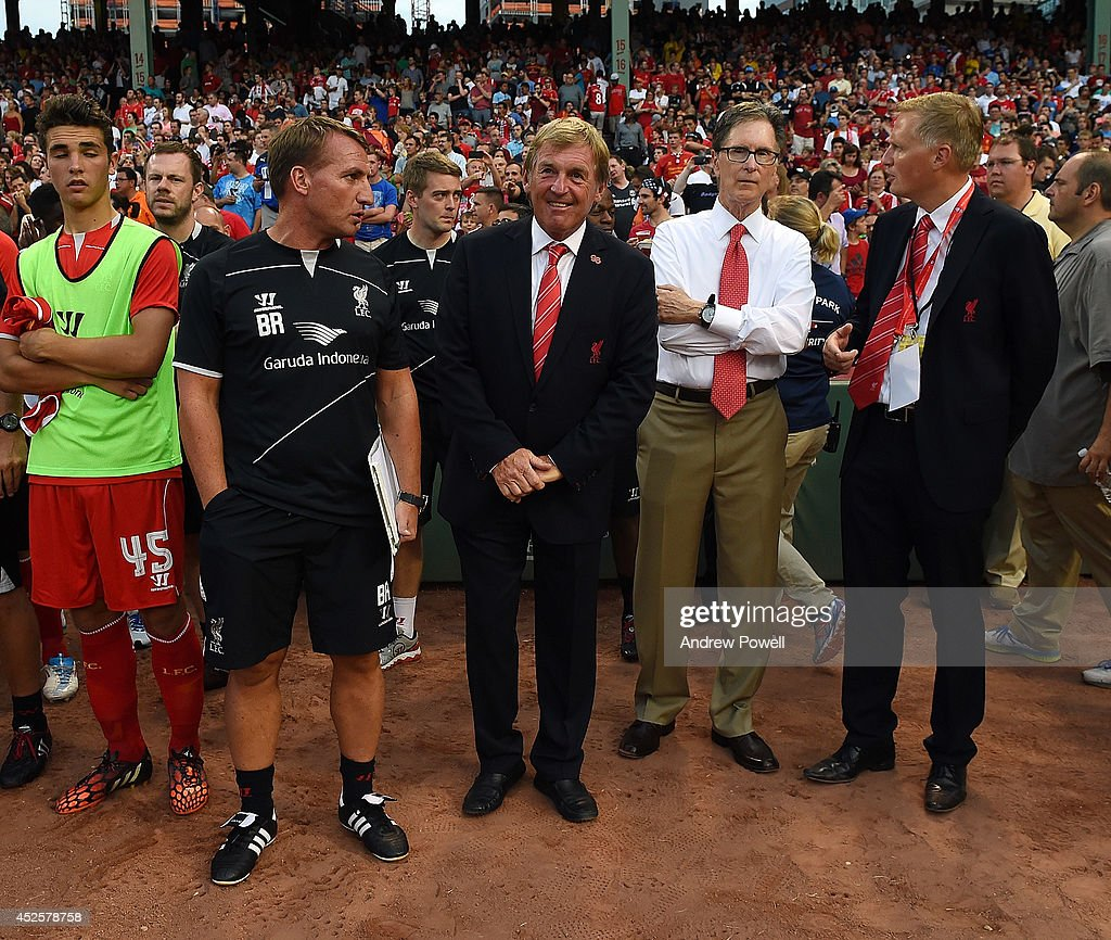 <a gi-track='captionPersonalityLinkClicked' href=/galleries/search?phrase=Brendan+Rodgers+-+Soccer+Manager&family=editorial&specificpeople=5446684 ng-click='$event.stopPropagation()'>Brendan Rodgers</a> manager of Liverpool with Owner John W Henry and Kenny Daliglsh before the pre season friendly match between Liverpool FC and AS Roma at Fenway Park on July 23, 2014 in Boston, Massachusetts.