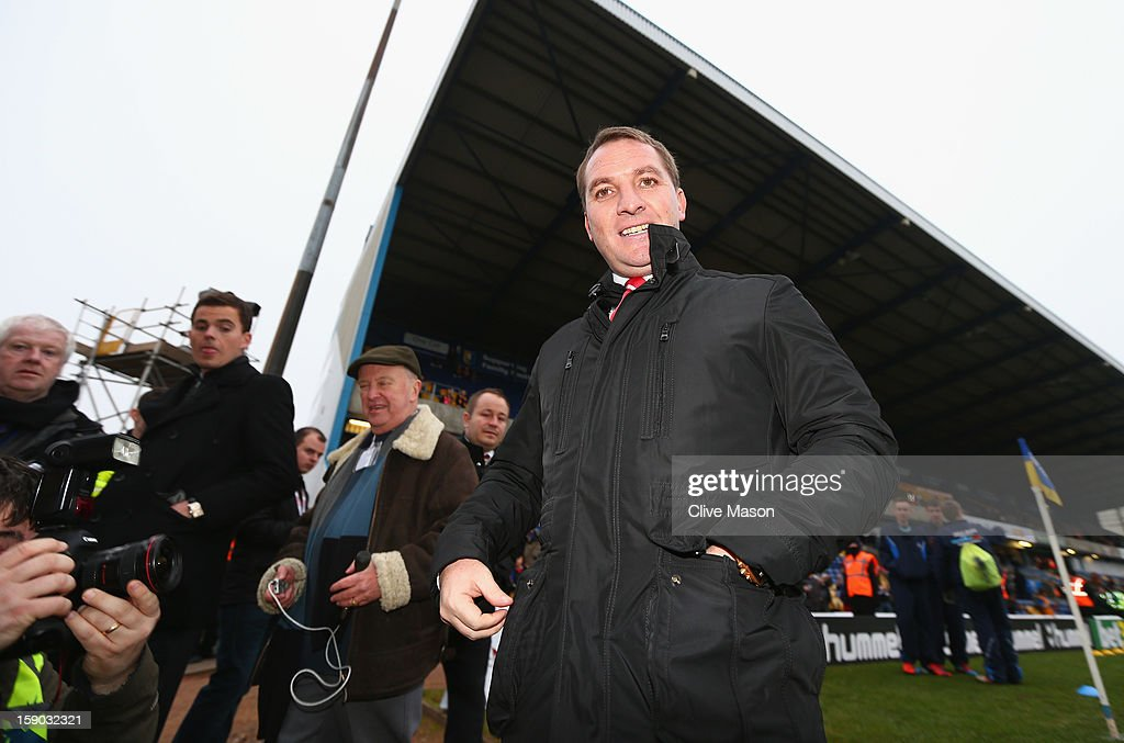 Brendan Rodgers of Liverpool arrives at the ground prior to the FA Cup with Budweiser Third Round match between Mansfield Town and Liverpool at One Call Stadium on January 6, 2013 in Mansfield, England.