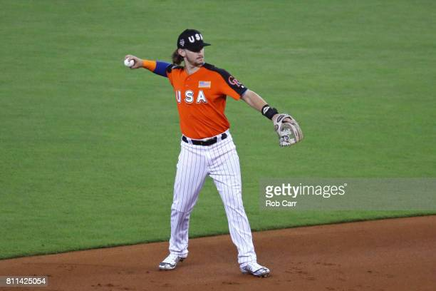 Brendan Rodgers of the Colorado Rockies and the US Team fields the ball against the World Team during the SiriusXM AllStar Futures Game at Marlins...
