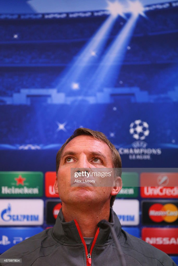 <a gi-track='captionPersonalityLinkClicked' href=/galleries/search?phrase=Brendan+Rodgers+-+Manager+d%27%C3%A9quipe+de+football&family=editorial&specificpeople=5446684 ng-click='$event.stopPropagation()'>Brendan Rodgers</a> the manager of Liverpool faces the media during a press conference at Anfield on October 21, 2014 in Liverpool, United Kingdom.