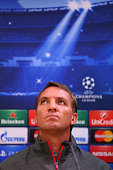 Brendan Rodgers the manager of Liverpool faces the media during a press conference at Anfield on October 21 2014 in Liverpool United Kingdom