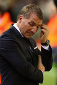 Brendan Rodgers the manager of Liverpool looks on during the Capital One Cup Third Round match between Liverpool and Carlisle United at Anfield on...