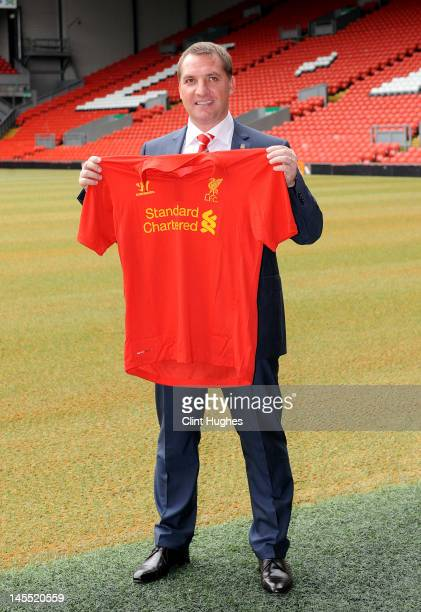 Brendan Rogers is unveiled as the new Liverpool FC manager at a press conference at Anfield on June 01 2012 in Liverpool England