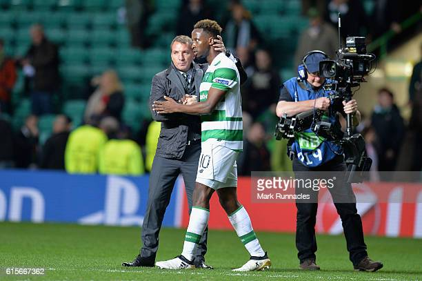 Brendan Rogers Manager of Celtic and Moussa Dembele of Celtic embrace following the UEFA Champions League group C match between Celtic FC and VfL...