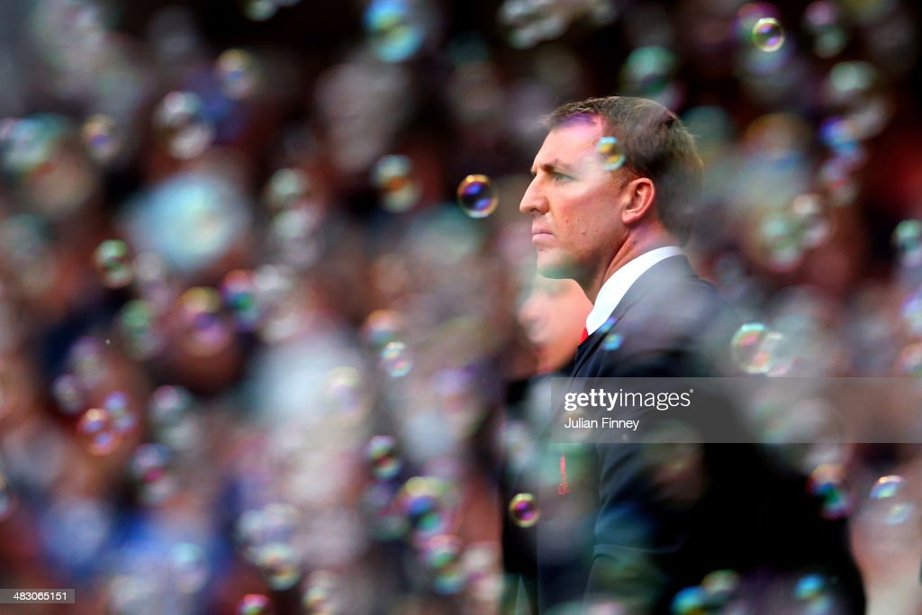 Brendan Rogers the Liverpool manager looks on during the Barclays Premier League match between West Ham United and Liverpool at Boleyn Ground on April 6, 2014 in London, England.