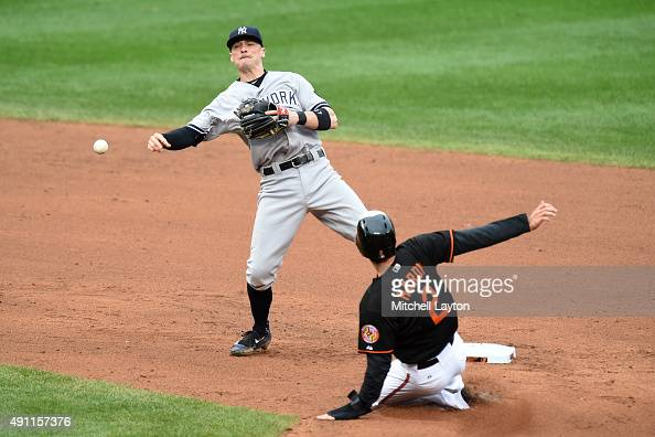 Brendan Ryan of the New York Yankees forces out JJ Hardy of the Baltimore Orioles on a Ryan Flaherty fielders choice in the sixth inning during game...
