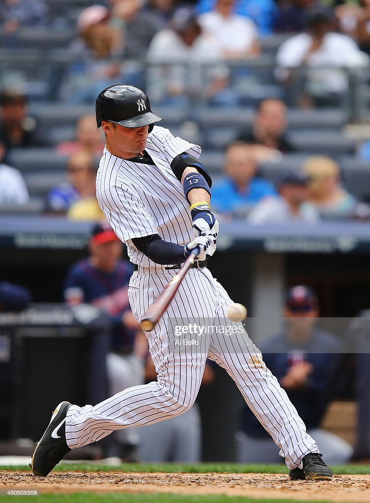 Brendan Ryan of the New York Yankees in action against the Minnesota Twins during their game at Yankee Stadium on May 31 2014 in the Bronx borough of...