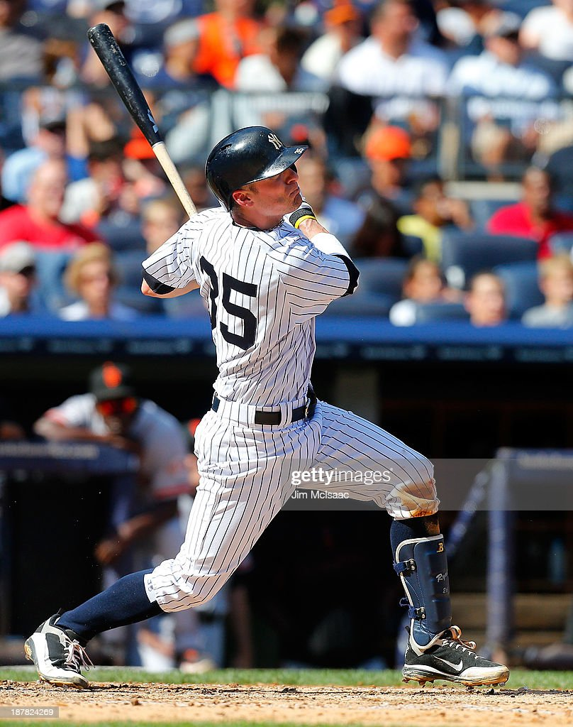 Brendan Ryan of the New York Yankees in action against the San Francisco Giants at Yankee Stadium on September 21 2013 in the Bronx borough of New...