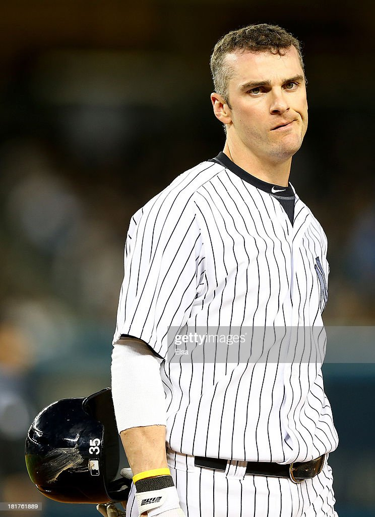 Brendan Ryan #35 of the New York Yankees reacts after he is out at first to end the inning against the New York Yankees on September 24, 2013 at Yankee Stadium in the Bronx borough of New York City.