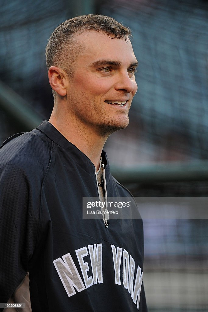 Brendan Ryan of the New York Yankees warms up during batting practice before the game against the Los Angeles Angels of Anaheim at Angel Stadium of...
