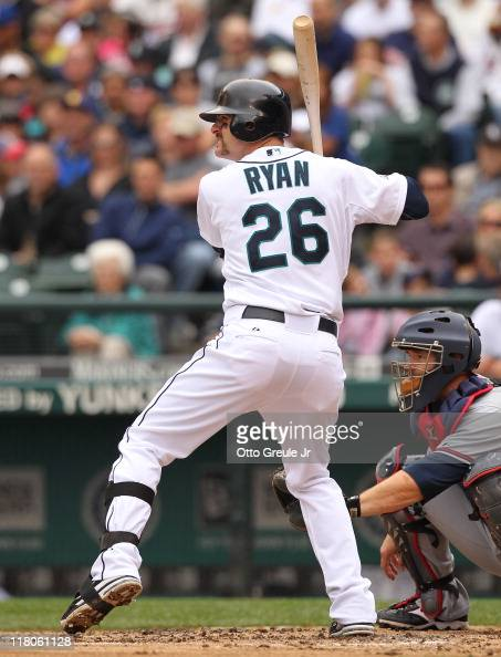 Brendan Ryan of the Seattle Mariners bats against the Atlanta Braves at Safeco Field on June 29 2011 in Seattle Washington