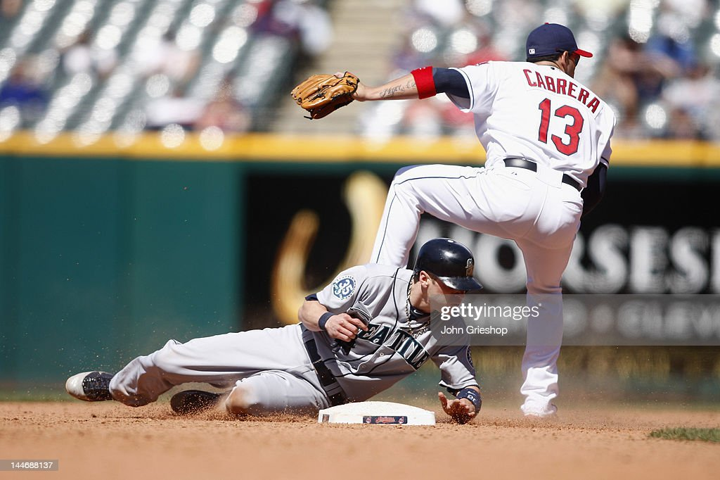 <a gi-track='captionPersonalityLinkClicked' href=/galleries/search?phrase=Brendan+Ryan&family=editorial&specificpeople=835643 ng-click='$event.stopPropagation()'>Brendan Ryan</a> #26 of the Seattle Mariners breaks up the double play at second against <a gi-track='captionPersonalityLinkClicked' href=/galleries/search?phrase=Asdrubal+Cabrera&family=editorial&specificpeople=834042 ng-click='$event.stopPropagation()'>Asdrubal Cabrera</a> #13 of the Cleveland Indians at Progressive Field on May 17, 2012 in Cleveland, Ohio. The Indians defeated the Mariners 6-5.