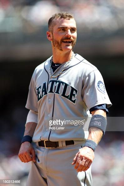 Brendan Ryan of the Seattle Mariners looks on during the game against the New York Yankees at Yankee Stadium on August 4 2012 in New York New York...