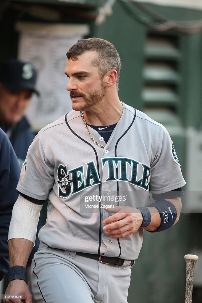 Brendan Ryan of the Seattle Mariners stands in the dugout during the game against the Oakland Athletics at the OaklandAlameda County Coliseum on July...