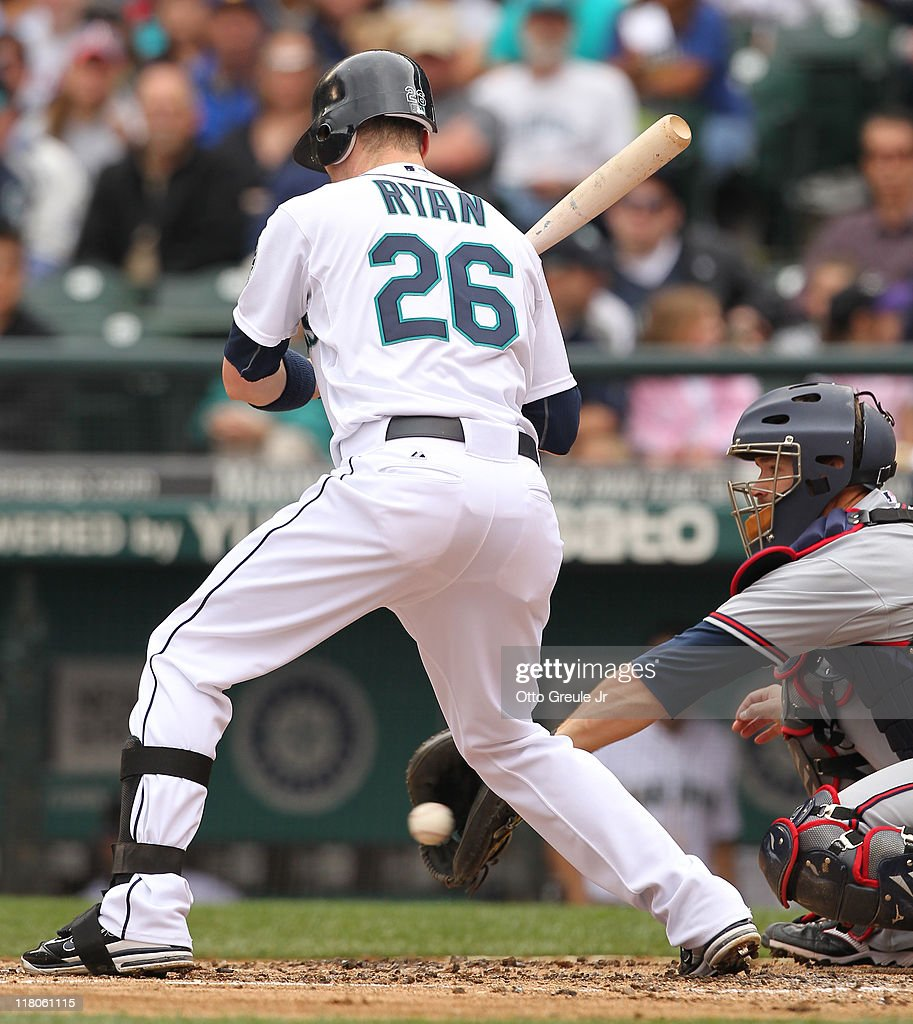 Brendan Ryan of the Seattle Mariners takes strike three against the Atlanta Braves at Safeco Field on June 29 2011 in Seattle Washington