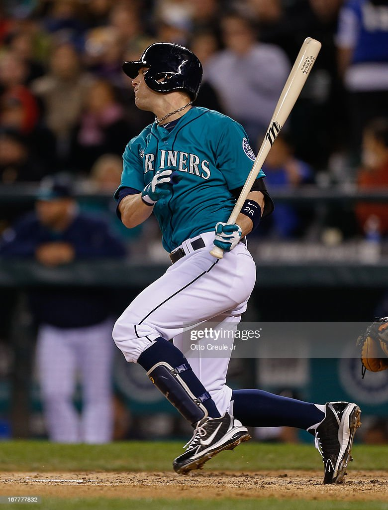 <a gi-track='captionPersonalityLinkClicked' href=/galleries/search?phrase=Brendan+Ryan&family=editorial&specificpeople=835643 ng-click='$event.stopPropagation()'>Brendan Ryan</a> #26 of the Seattle Mariners watches his RBI single to right in the sixth inning against the Baltimore Orioles at Safeco Field on April 29, 2013 in Seattle, Washington.