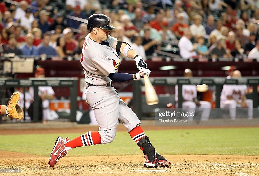 Brendan Ryan of the St Louis Cardinals hits a 3 run home run against the Arizona Diamondbacks during the seventh inning of the Major League Baseball...