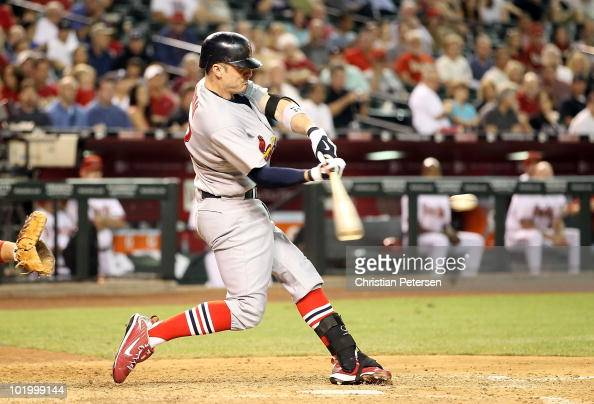Brendan Ryan of the St Louis Cardinals hits a 3 run home run against the Arizona Diamondbacks during the seventh inning of the Major League Baseball...