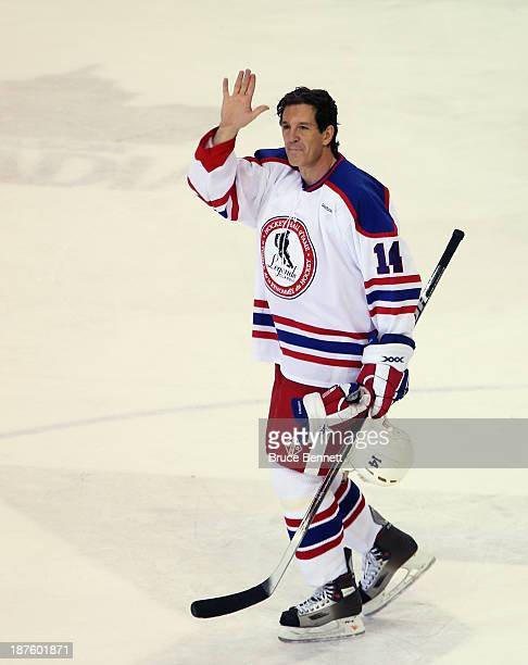Brendan Shanahan leaves the ice following the 2013 Hockey Hall of Fame Legends Classic game at the Mattamy Athletic Center on November 10 2013 in...