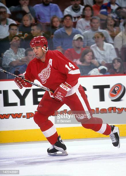 Brendan Shanahan of the Detroit Red Wings skates on the ice during an NHL game against the Philadelphia Flyers circa 2000 at the First Union Center...