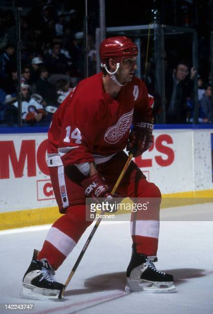 Brendan Shanahan of the Detroit Red Wings skates on the ice during an NHL game against the New York Islanders on December 28 1996 at the Nassau...