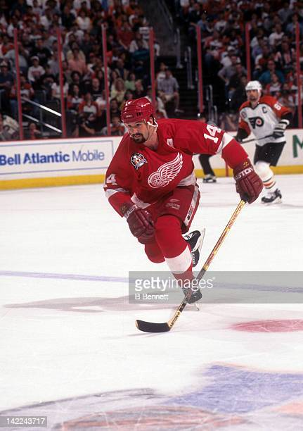 Brendan Shanahan of the Detroit Red Wings skates on the ice during 1997 Stanley Cup Finals against the Philadelphia Flyers in June 1997 at the...