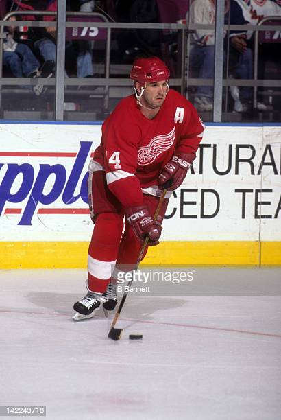 Brendan Shanahan of the Detroit Red Wings skates with the puck during an NHL game against the New York Rangers on March 21 1997 at the Madison Square...