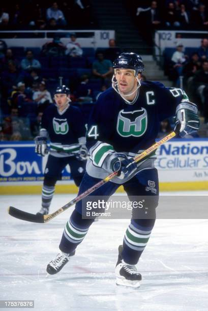 Brendan Shanahan of the Hartford Whalers skates on the ice during an NHL game against the New York Islanders circa 1995 at the Nassau Coliseum in...