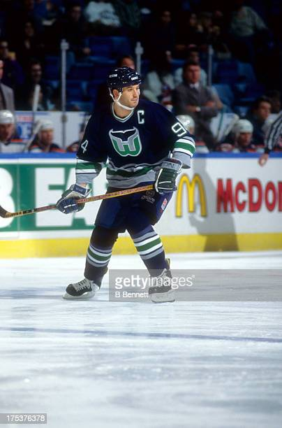 Brendan Shanahan of the Hartford Whalers skates on the ice during an NHL game against the New York Islanders on January 17 1996 at the Nassau...