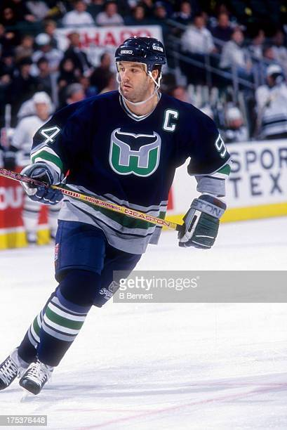 Brendan Shanahan of the Hartford Whalers skates on the ice during an NHL game against the Dallas Stars on February 11 1996 at the Reunion Arena in...