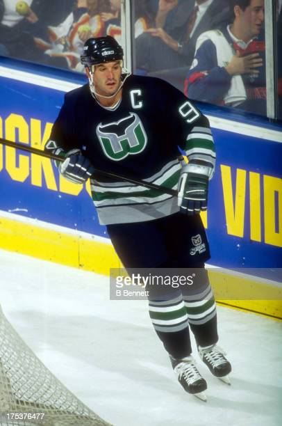 Brendan Shanahan of the Hartford Whalers skates on the ice during an NHL game against the Florida Panthers on October 21 1995 at the Miami Arena in...