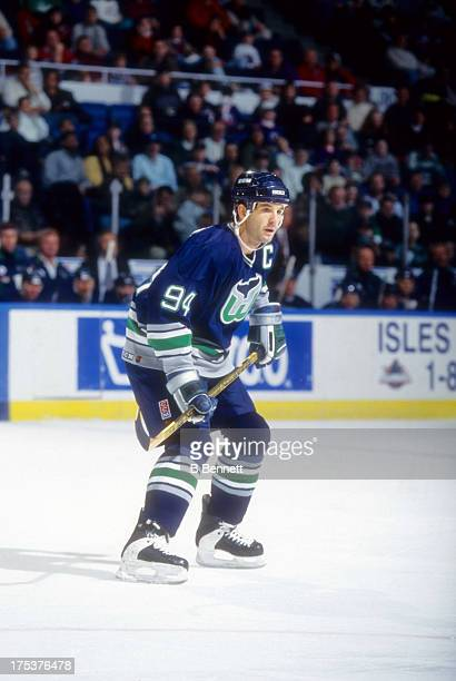 Brendan Shanahan of the Hartford Whalers skates on the ice during an NHL game against the New York Islanders on December 16 1995 at the Nassau...
