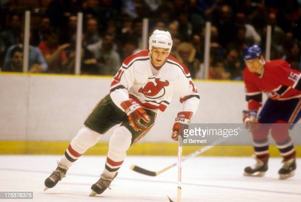 Brendan Shanahan of the New Jersey Devils skates on the ice during an NHL game against the Montreal Canadeins on February 11 1988 at the Brendan...