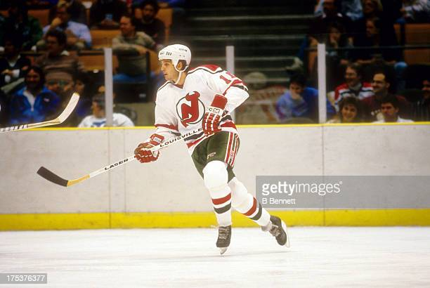 Brendan Shanahan of the New Jersey Devils skates on the ice during an NHL game circa 1988 at the Brendan Byrne Arena in East Rutherford New Jersey