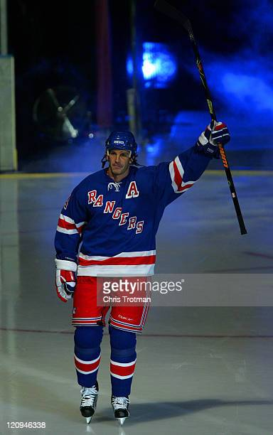 Brendan Shanahan of the New York Rangers is introduced to fans before the home opener against the Washington Capitals at Madison Square Garden on Oct...