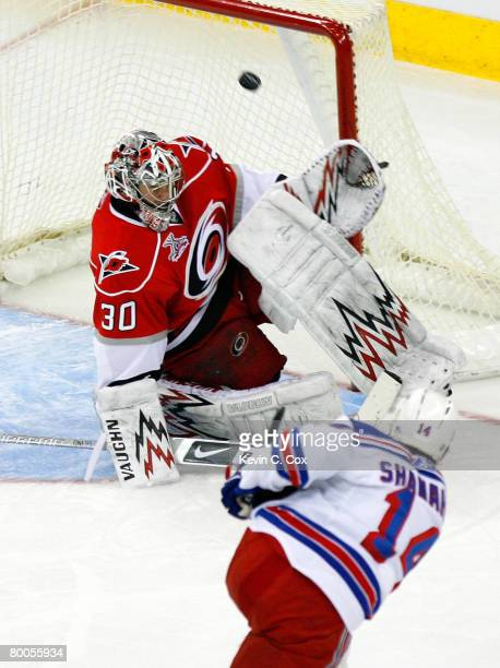 Brendan Shanahan of the New York Rangers scores a goal past goaltender Cam Ward of the Carolina Hurricanes during the third period at RBC Center on...